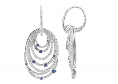 CR-Sapphire / CZ Leverback Earrings (E-10000MUL-W) In Silver - Product Image