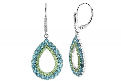 Swiss Blue Topaz / Peridot / Diamond Leverback Earrings (E-7134MUL-W) In Silver - Product Image