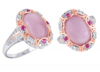 Pink Mother of Pearl Ring (R-10024MULT-WP) In Silver - Product Image
